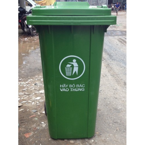 Thùng rác nhựa có bánh xe, nắp đậy 240 lít