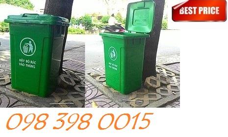 Thùng rác nhựa nắp kín dung tích 90 lít